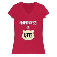 Load image into Gallery viewer, Cute Cat Shirts, Cat T-Shirt with the Phrase Happiness Is Cats Printed Across the Front