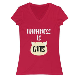 Cute Cat Shirts, Cat T-Shirt with the Phrase Happiness Is Cats Printed Across the Front