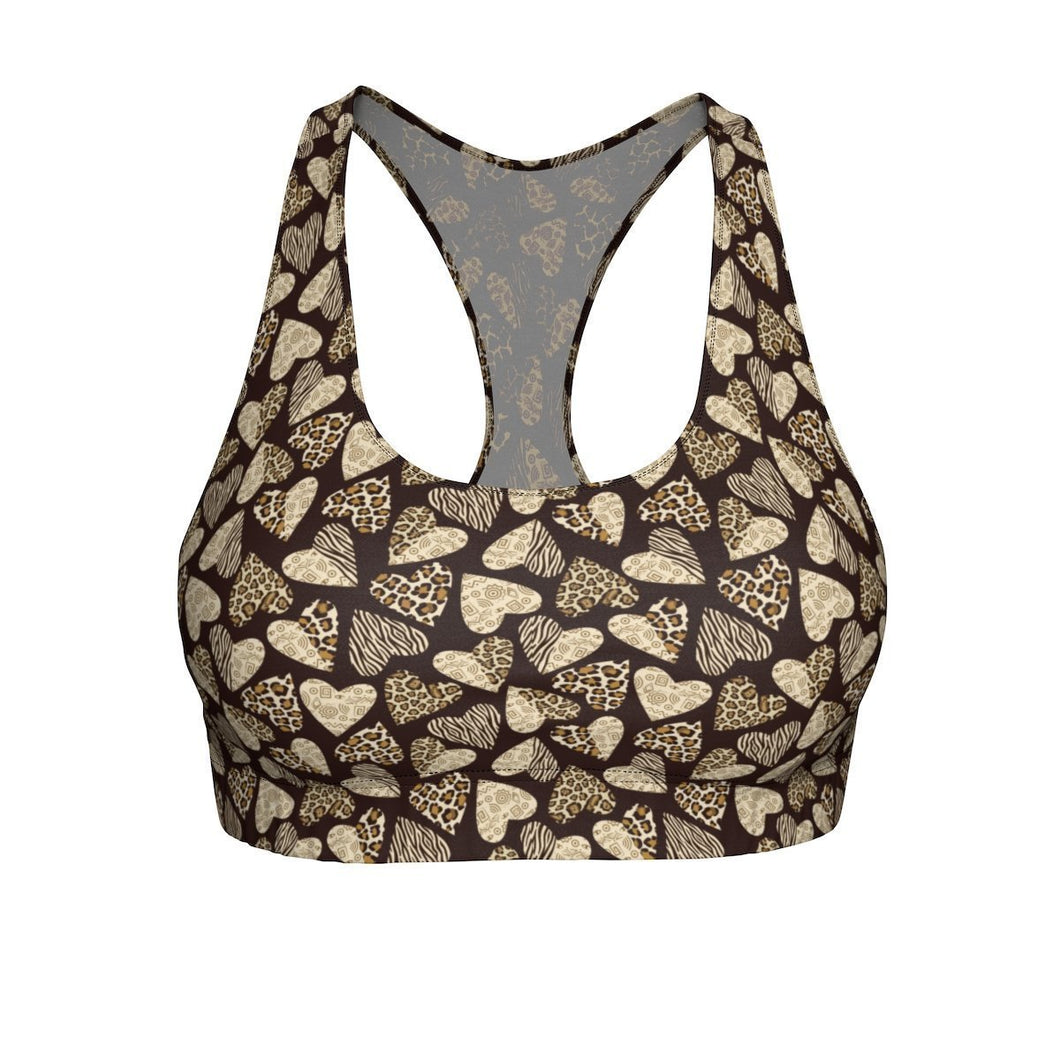 Leopard Print Sports Bras, Cute and Comfortable Sports Bras with a Heart-Shaped Animal Print Pattern
