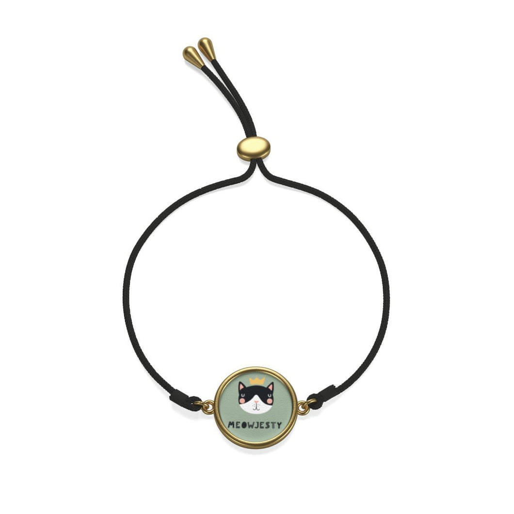 Cat Jewelry, Cat Bracelet with a Golden Charm Featuring a Cat with a Crown
