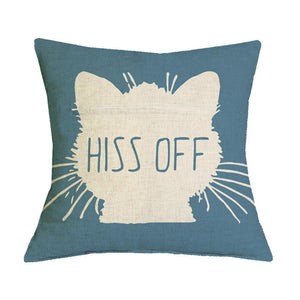 Funny Gifts for Cat Lovers, Decorative Cat Pillow with the Words Hiss Off Printed On a Cute Cat Face