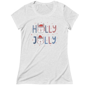 "Cat Lady Gifts, Funny Christmas Cat T-Shirt Featuring a Cute Cat Face and the Text ""Holly Jolly"" In a Festive Print"