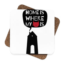 Load image into Gallery viewer, Cat themed home decor, Home Is Where My Cat Is Coasters Set - 4pcs