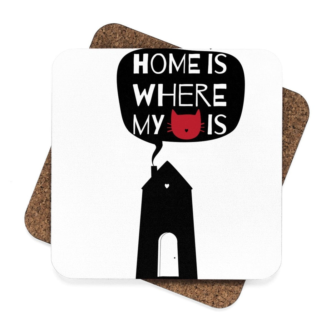 Cat themed home decor, Home Is Where My Cat Is Coasters Set - 4pcs