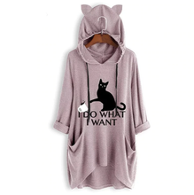 "Load image into Gallery viewer, Cat Themed Apparel, Women's Cat Dress Featuring The Words ""I Do What I Want"" And A Black Cat Printed On The Front"