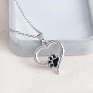 Cat Gifts for Her, Silver Tone Paw Print Necklace Featuring a Heart and a Black Paw Print