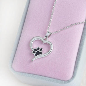 Gifts for Cat Lovers, Paw Print Jewelry, Paw Print Necklace with a Heart Shaped Pendant and a Black Paw Print