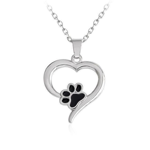 Cat Jewelry, Paw Print Necklace Featuring a Heart Shaped Pendant with a Black Paw Print