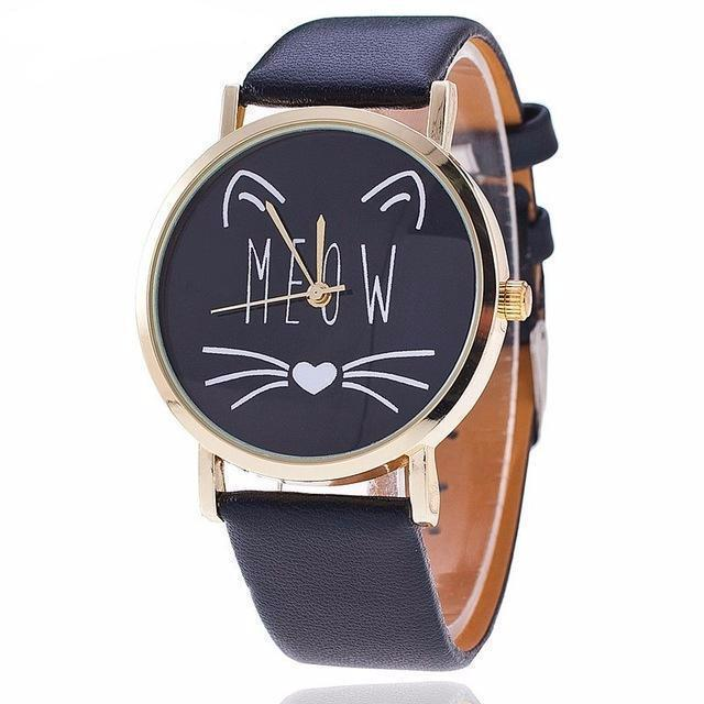Cat Gifts for Her, Cute Cat Face Watch with the Text Meow and a Cat Face Printed On a Black Dial