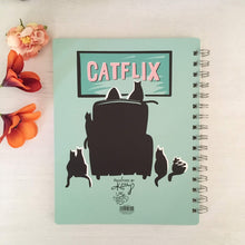 Load image into Gallery viewer, Funny Cat Notebook for Cat Lovers with the Word Catflix Printed On the Back