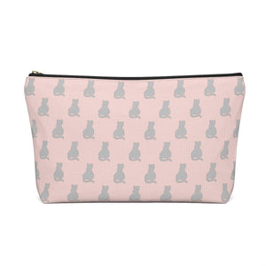 "Cat Gifts for Her, Cat Toiletry Bag Featuring a Gray Cat Print and the Phrase ""I Like Cats & Pretty Things"""