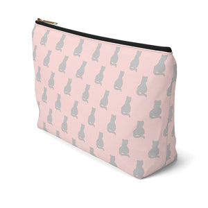Cat Gifts for Cat Owners, Cute Cat Makeup Bag Featuring a Gray Cat Print