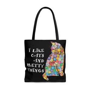 Birthday Gifts for Cat Lovers, Cat Tote Bag Featuring a Cat With a Flower Coat and the Tet I Like Cats and Pretty Things Printed Across the Front