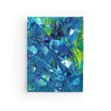 Load image into Gallery viewer, The Back Cover of this Cat Notebook Features Blue and Green Paint Print