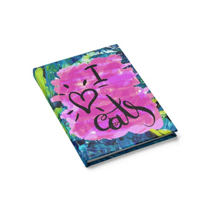 Gifts for Cat Lovers, Cat Notebook Gift Featuring the Text I Love Cats
