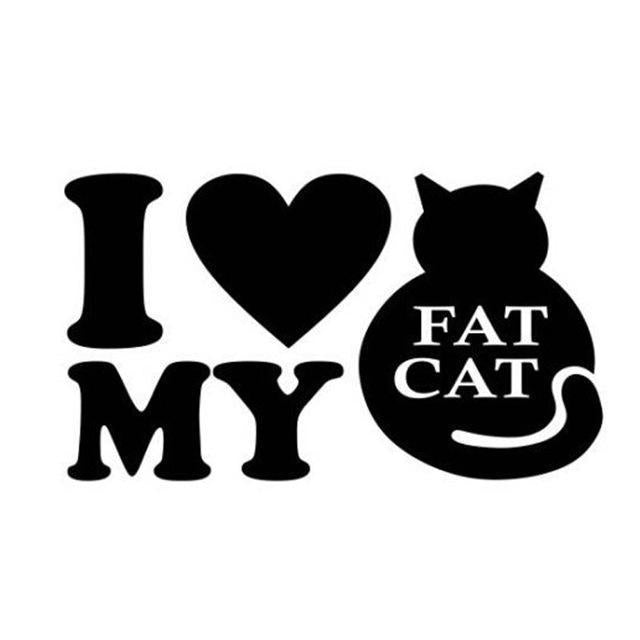 Cat Bumper Stickers, Cat Laptop Stickers, I Love My Fat Cat Sticker