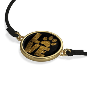 Cheap Gifts for Cat Lovers, Paw Print Bracelet Featuring the Text Love and a Paw Print on a Gold Plated Charm