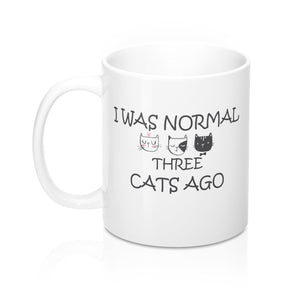 Gaga Gift for Cat Lover, Cat Coffee Mug Featuring the Text I Was Normal Three Cats Ago and Three Adorable Kitty Cat Faces