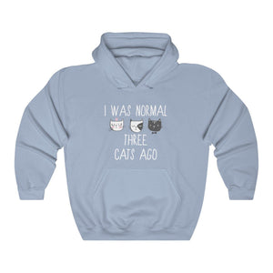 Sweatshirts with Cats On Them, Men's Funny Cat Sweater with the Text I Was Normal Three Cats Ago Printed On the Front