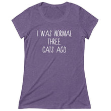 Load image into Gallery viewer, Cat Themed Gifts, Funny T-Shirt for Cat Lovers with the Phrase I Was Normal Three Cats Ago Printed Across the Front
