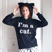 Load image into Gallery viewer, I Am a Cat Sweatshirt with Cat Ears On the Hood