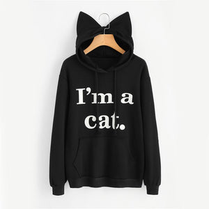 Clothes for Cat Ladies, Cute Cat Ear Hoodie With the Text I'm a Cat Printed On the Front