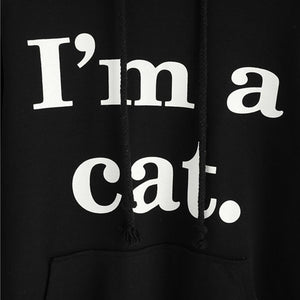 Cool Things for Cat Lovers, Cat Hoodie with Ears and the Text I'm A Cat Printed Across the Front