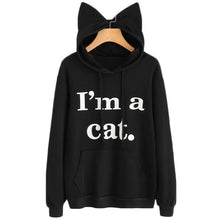 Load image into Gallery viewer, Cat Ear Hoodie, Cute Cat Sweatshirt with 3D Cat Ears and the Text I Am a Cat Printed on the Front