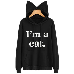 Cat Ear Hoodie, Cute Cat Sweatshirt with 3D Cat Ears and the Text I Am a Cat Printed on the Front