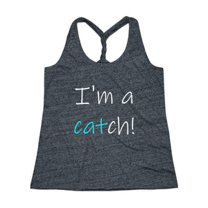 "One of our favorite clothes with cats design, this cat themed top features the witty phrase ""I'm a catch"" printed across the front."