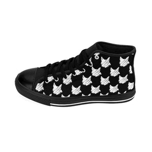 Cat Print Sneakers Featuring a White Cat Print on a Black Canvas Fabric