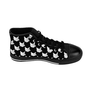 Unique Gifts for Cat Lovers, One of a Kind High-Top Cat Sneakers Featuring White Cats Printed On Black Canvas Fabric