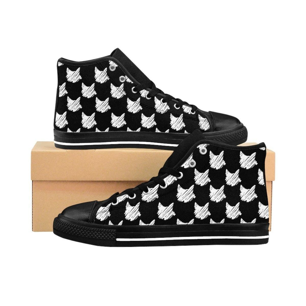 Shoes with Cats On Them, Cat Sneakers with a Unique White Cat Print On a Black Canvas Fabric
