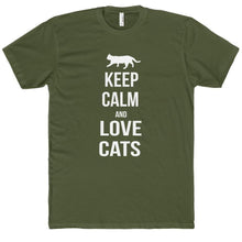 Load image into Gallery viewer, Cat Gifts for Him, Funny Cat Shirt Featuring the Text Keep Calm and Love Cats