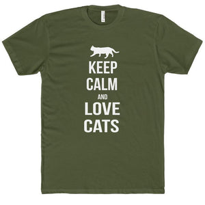 Cat Gifts for Him, Funny Cat Shirt Featuring the Text Keep Calm and Love Cats