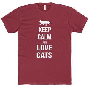 Cat Themed Gifts for Men, Funny Cat Shirt with the Text Keep Calm and Love Cats Printed Across the Front