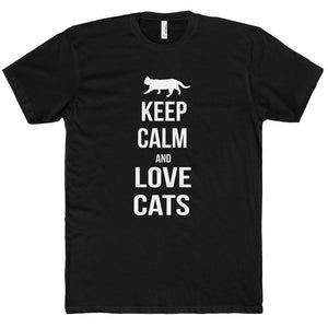 Cat Shirts for Men, Keep Calm and Love Cats T-Shirt