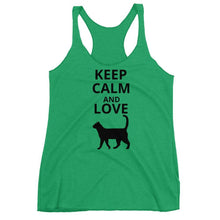 Load image into Gallery viewer, Funny Cat Shirts for Women, Cat Tank Top with the Print Keep Calm and Love Cats