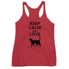 Load image into Gallery viewer, Cat Gifts for Women, Funny Cat Top with the Phrase Keep Calm and Love Cats Printed On the Front