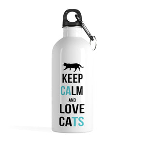 If you're looking for unique cat themed gifts, pick up this Keep Calm and Love Cats water bottle, featuring a unique black and blue print and a cat on a white background.