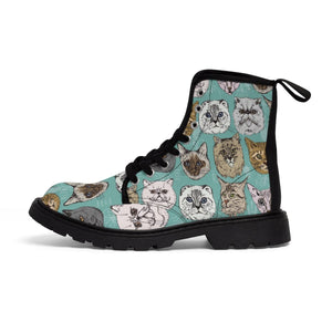 Kitty boots featuring a unique cat face print on a vibrant blue canvas fabric