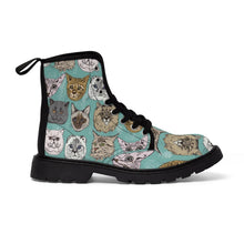 Load image into Gallery viewer, Cat face shoes decorated with different cat faces printed on a turquoise canvas fabric