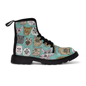 Cat face shoes decorated with different cat faces printed on a turquoise canvas fabric