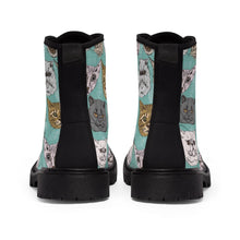 Load image into Gallery viewer, The back of these shoes with cats on them features a black canvas fabric strip.