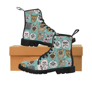 Shoes with cats on them printed on a turquoise canvas fabric.