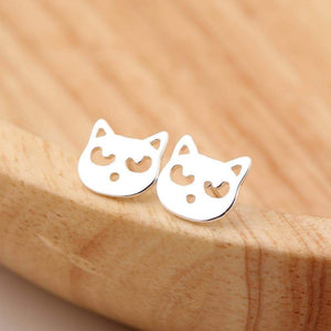 Cat Jewelry, Kitty Cat Face Stud Earrings