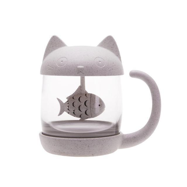 Unique Gifts for Cat Lovers, Cat Kitchen Decor, Cat Tea Infuser with a Fish Shaped Strainer