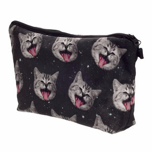 Cute Makeup Bags, Cat Cosmetic Bag Decorated with Laughing Cats