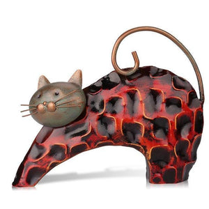 Cat Themed Home Decor, Lazy Cat Metal Figurine