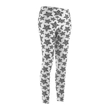 Load image into Gallery viewer, Cat Leggings, Cute Cat Print Leggings Featuring Black Leopard Print On a White Fabric
